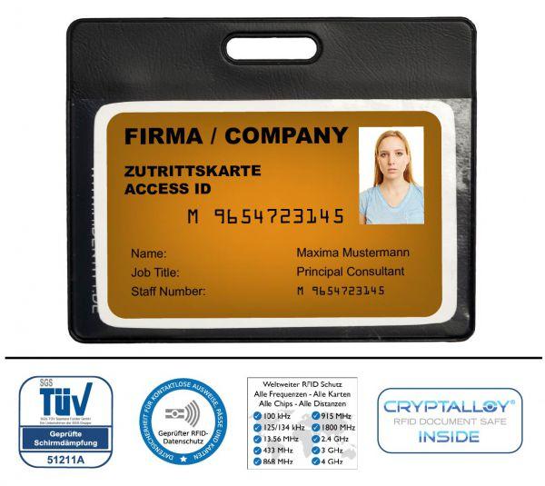 RFID / NFC Ausweisschutzhülle mit Sichtfenster (halbtransparent) Kunststof