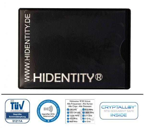 RFID Schutzhülle Hidentity® DUO. Etui für zwei Karten mit Funk-Chip aus Kunststoff mit Sichtfenster-