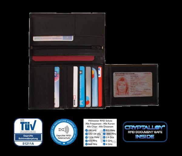 """Marken-Brieftasche """"ROMA"""" aus Rindsleder mit Funk-Chip-Schutz - RFID-Schutz - kontaktlos - NFC - Cry"""