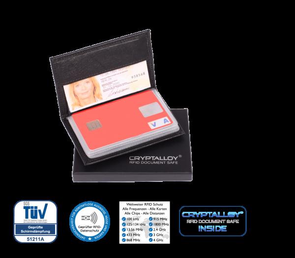 Funk-Chip Kartenschutzhülle aus Rindsleder (für kontaktlose Ausweise, Karten)