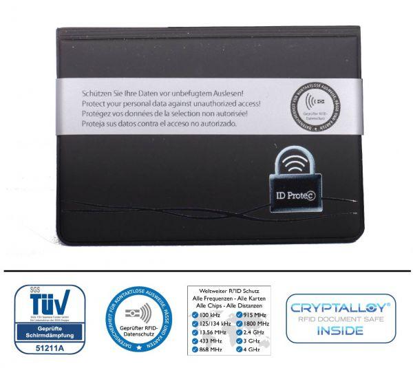 Funk-Chip ID-PROTECT Kartenschutzhülle 4-fach Kunststoff (kontaktlose Ausweise, Karten) NFC - Crypta