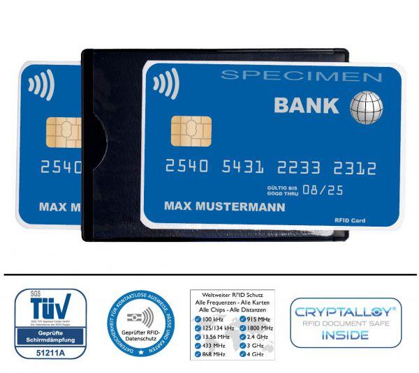 RFID Schutzhülle Hidentity® DUO. Etui für zwei Karten mit Funk-Chip aus Kunststoff mit Sichtfenster