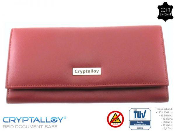 """Marken-Damenbörse """"ALEXANDRIA"""" (rot) aus Rindsleder mit Funk-Chip-Schutz - RFID-Schutz - kontakt"""