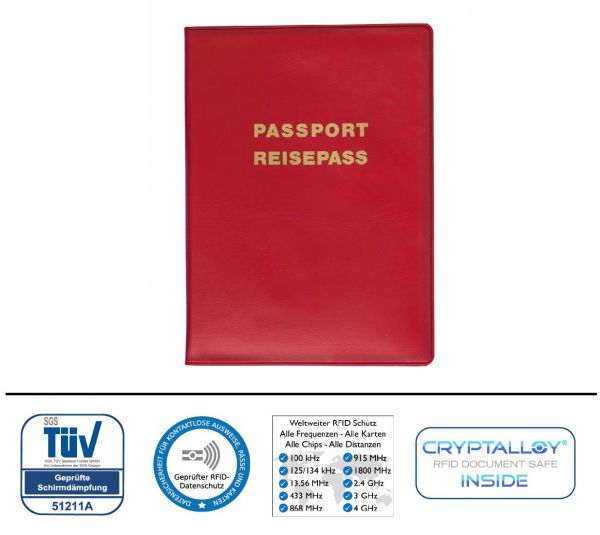 RFID/NFC Reisepassschutzhülle plus 2 Kartenfächer Kunststoff für kontaktlose Pässe, EU, Schweiz, ROT