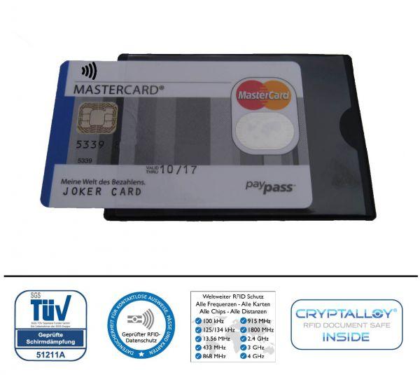 RFID Schutzhülle Hidentity® UNO. Etui für eine Karte mit Funk-Chip aus Kunststoff mit Sichtfenster